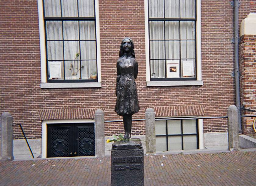 Statue of Ann Frank outside the Ann Frank Museum in Amsterdam