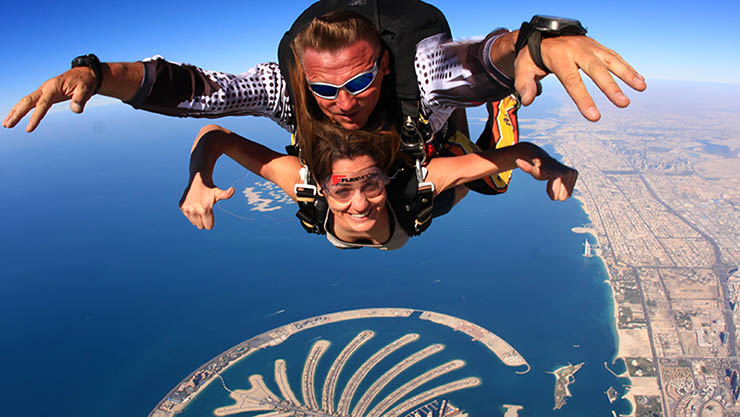 Skydiving above the Palm