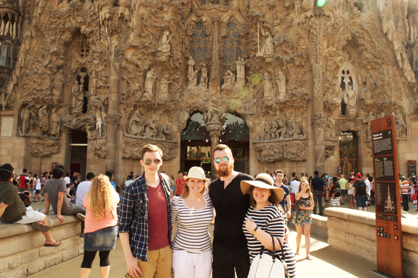Friends outside Sagrada Familia