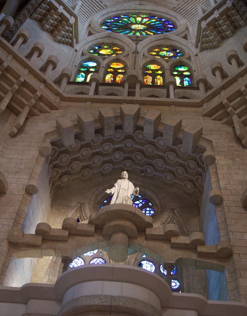 Windows and Statue inside Sagrada Familia