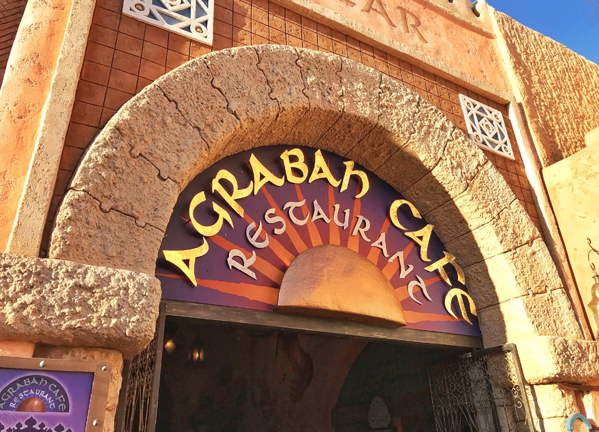 dinner option, outside agrabah cafe restaurant, adventure land, how to eat vegan at disneyland paris