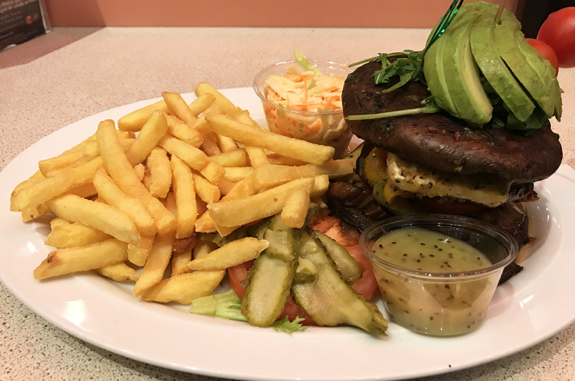 dinner option, veggie burger, fries, annettes diner, disney village, how to eat vegan at disneyland paris