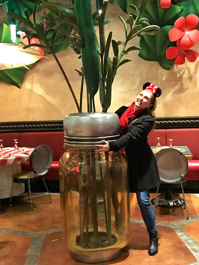 dinner option, inside bistrot chez remy, mel posing with salt shaker flower pot, ratatouille land, how to eat vegan at disneyland paris