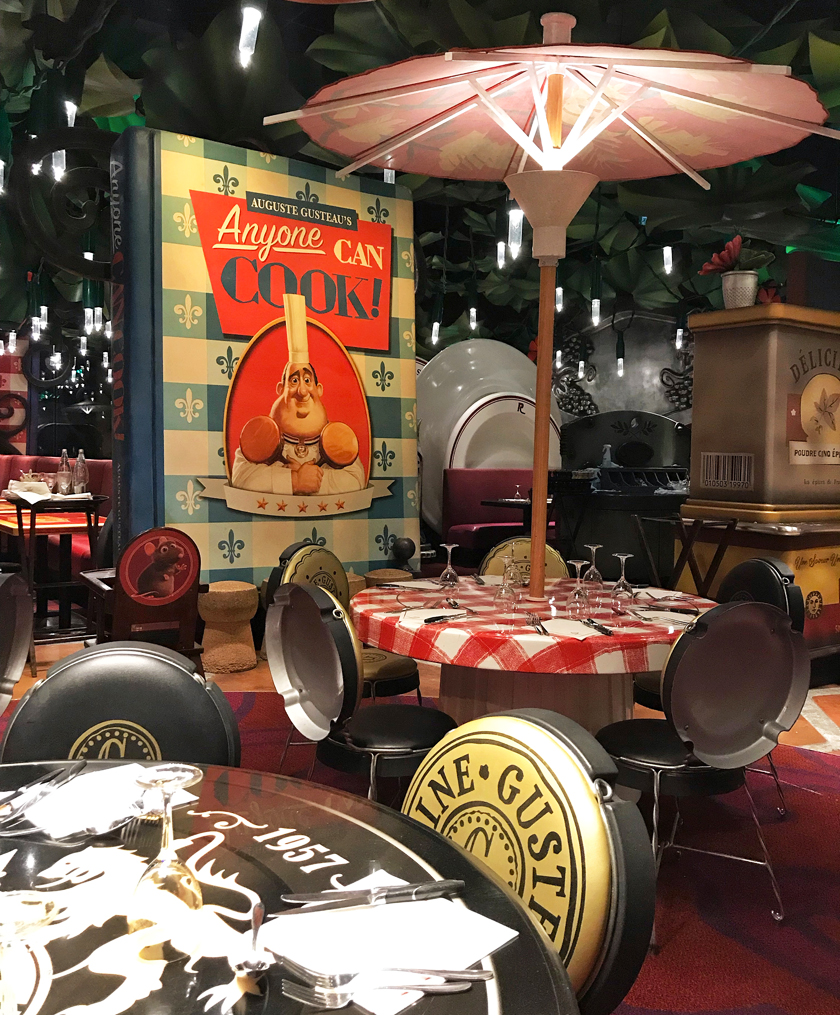 dinner option, tables inside bistrot chez remy, ratatouille land, how to eat vegan at disneyland paris
