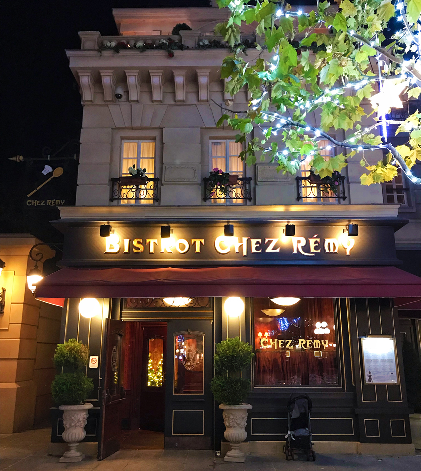 dinner option, outside bistrot chez remy, ratatouille land, how to eat vegan at disneyland paris