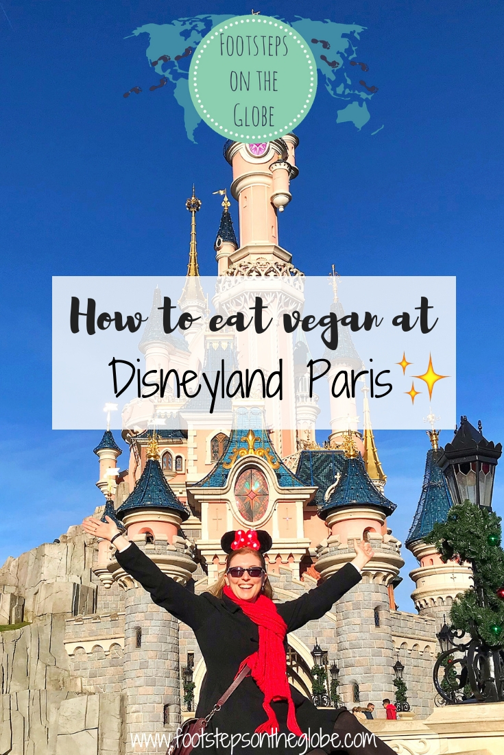 Pinterest image, how to eat vegan at disneyland paris