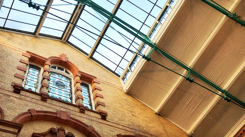 Inside Victoria baths, ceiling, Edwardian glass window, guide to Manchester's vegan Christmas Festival