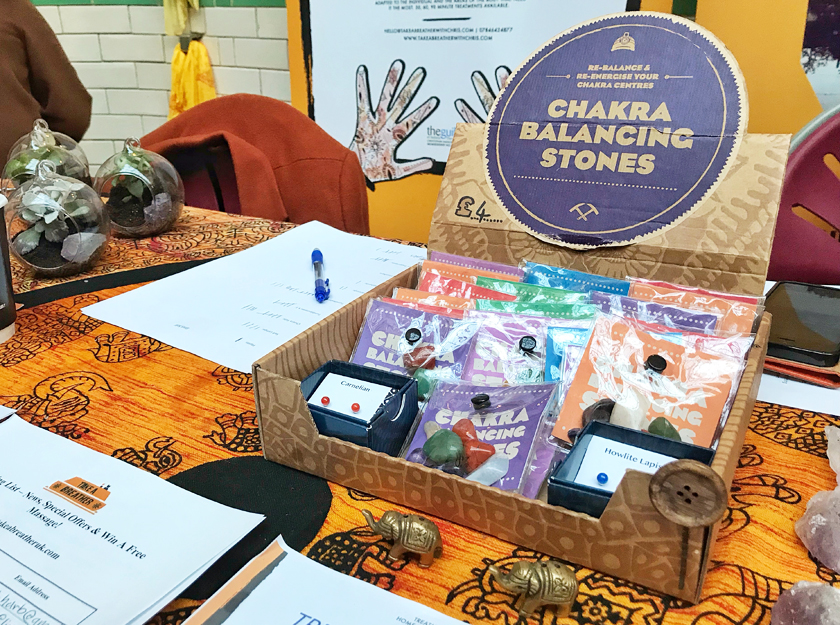 chakra stones, alternative wellbeing stall, inside Victoria baths, guide to Manchester's vegan Christmas Festival