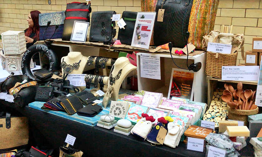 vegan accessories stall, inside Victoria baths, guide to Manchester's vegan Christmas Festival