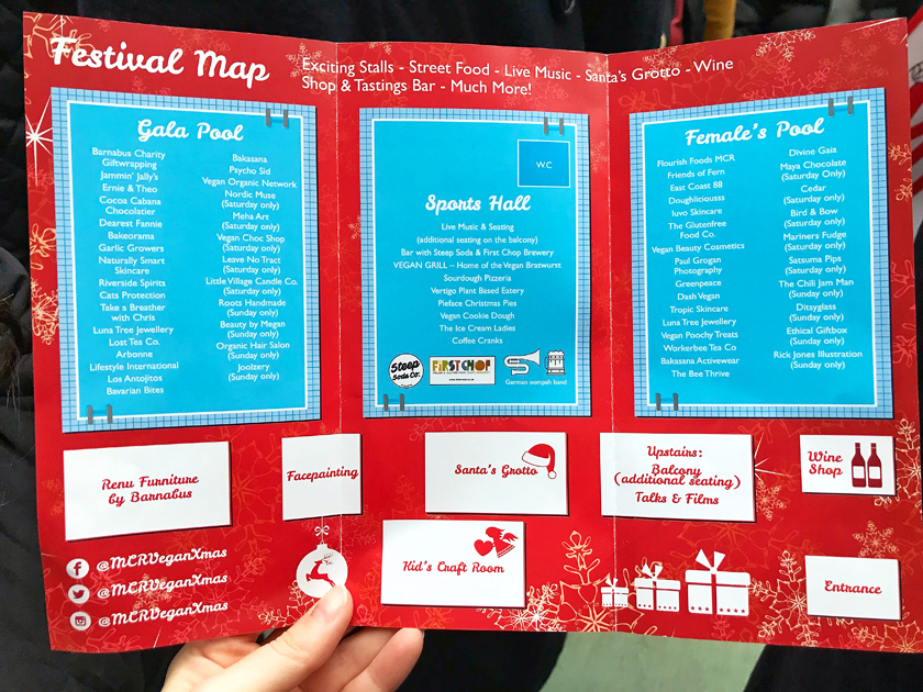 map, inside Victoria baths, guide to Manchester's vegan Christmas Festival