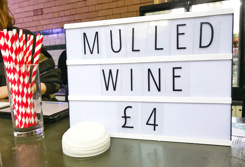 Sports Hall, vegan mulled wine stand, food hall, inside Victoria baths, guide to Manchester's vegan Christmas Festival