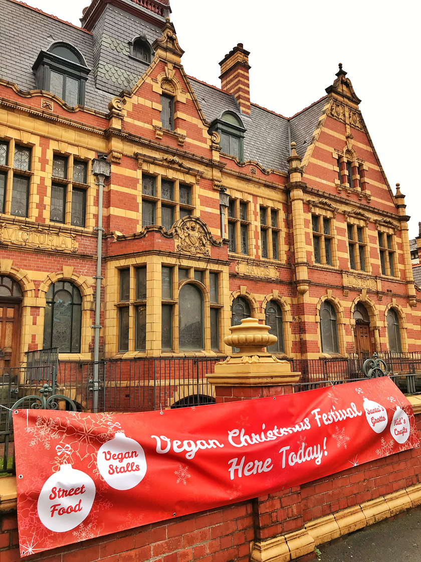 Outside Victoria baths, guide to Manchester's vegan Christmas Festival