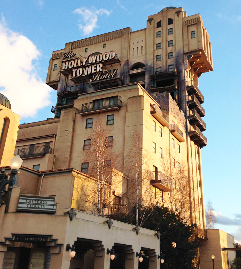 Front of the Hollywood Tower of Terror Hotel ride at Disneyland Paris