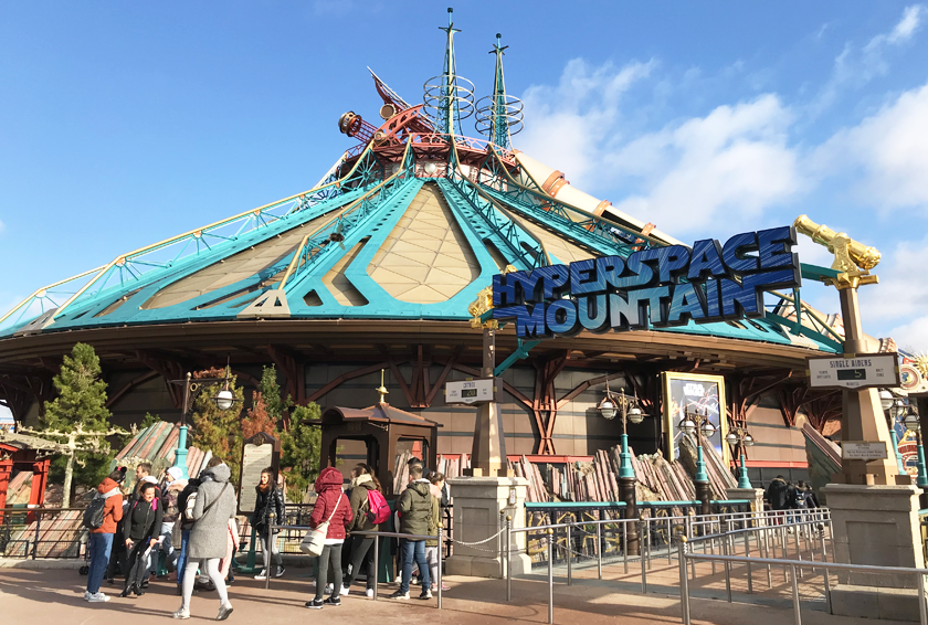 Front of hyperspace mountain in Disneyland Paris