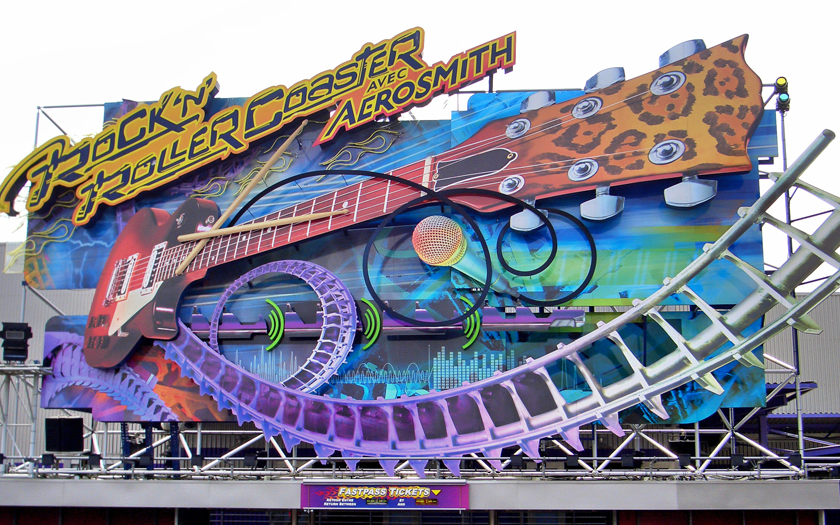 Front sign of the rock n roller coaster in Disneyland Paris