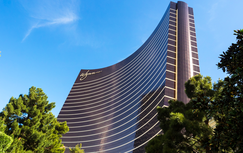 Outside the Wynn Hotel with a blue sky