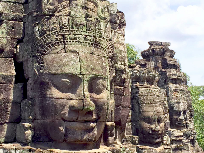 Stone face carving statues.
