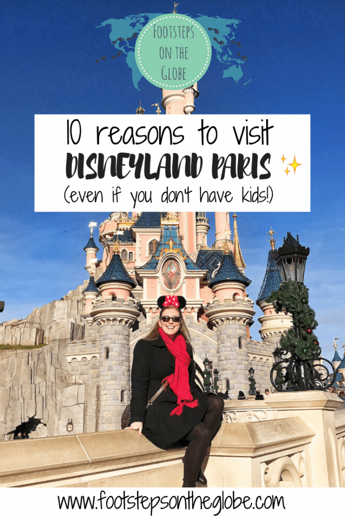 Mel from Footsteps on the Globe in front of the princess castle at Disneyland Paris, Reasons to go to Disneyland Paris Pinterest image