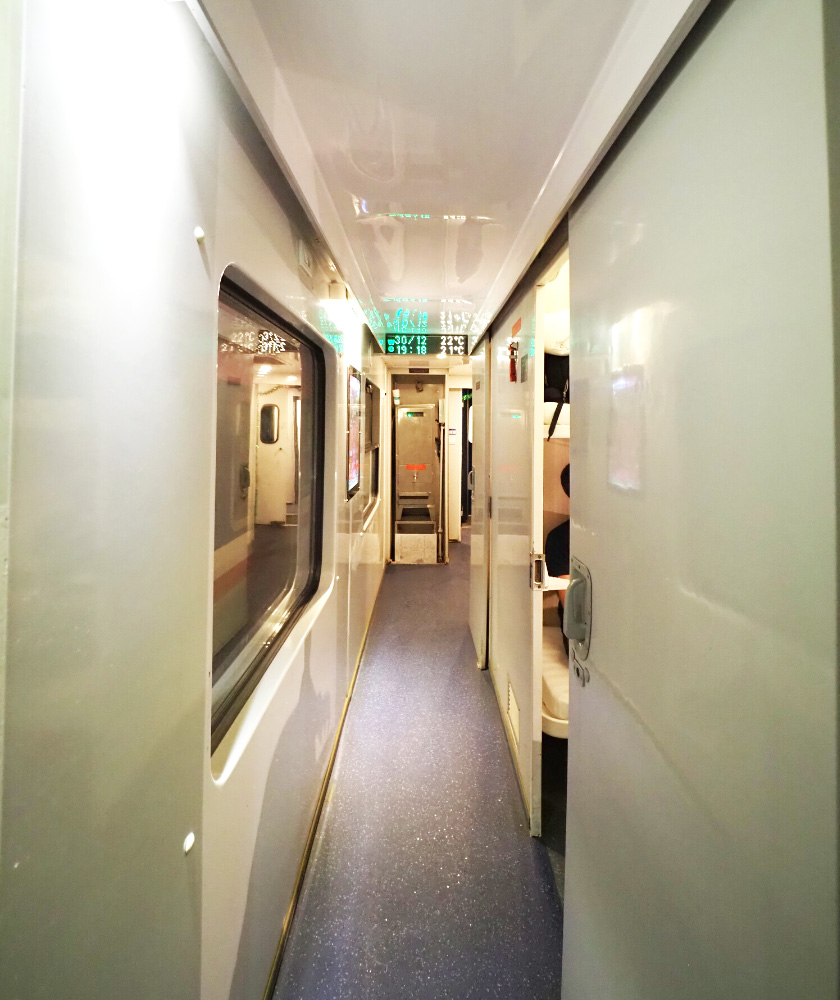 Corridor on the overnight train in Vietnam
