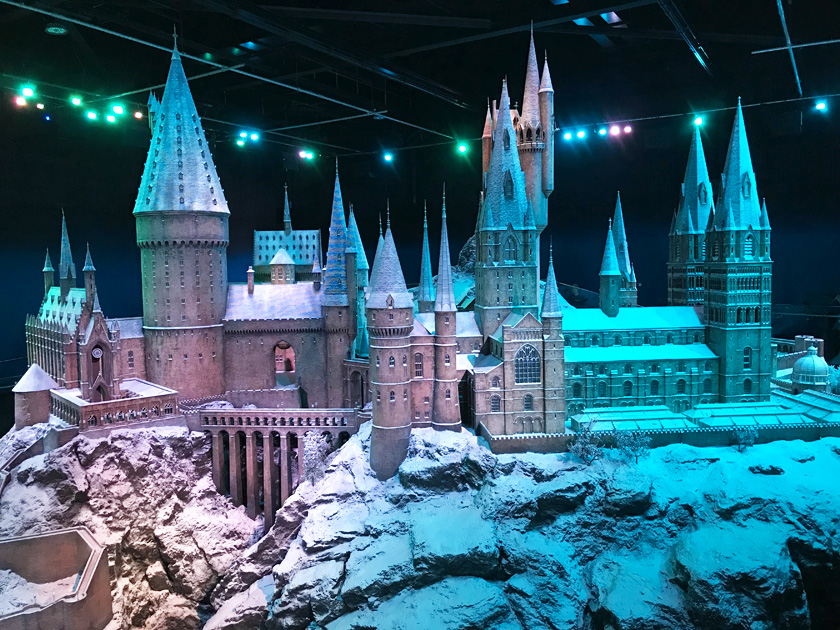 Hogwarts castle model with snow all over it