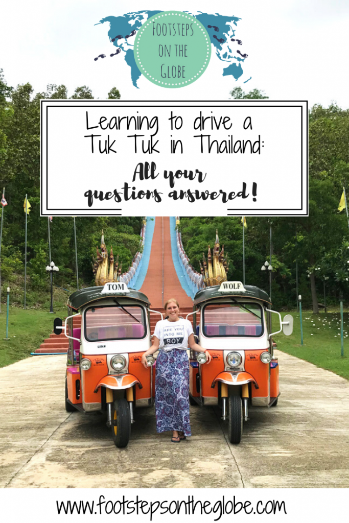 Mel from Footsteps on the Globe in front of a temple with two Tuk Tuks either side of her, Pinterest image