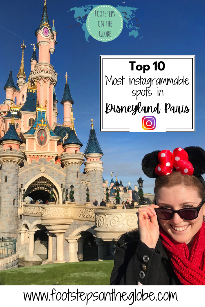 Mel in front of Sleeping Beauty's Castle at Disneyland Paris wearing Minnie Mouse ears pulling down her sunglasses