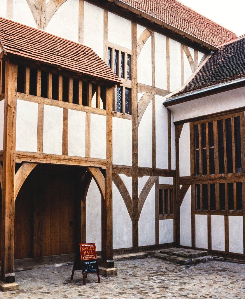 Outside Barley Hall, a medieval building in the centre of York, UK