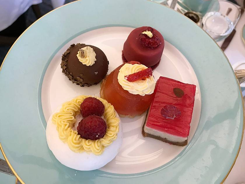 Selection of vegan afternoon tea cakes at Fortnum and Mason