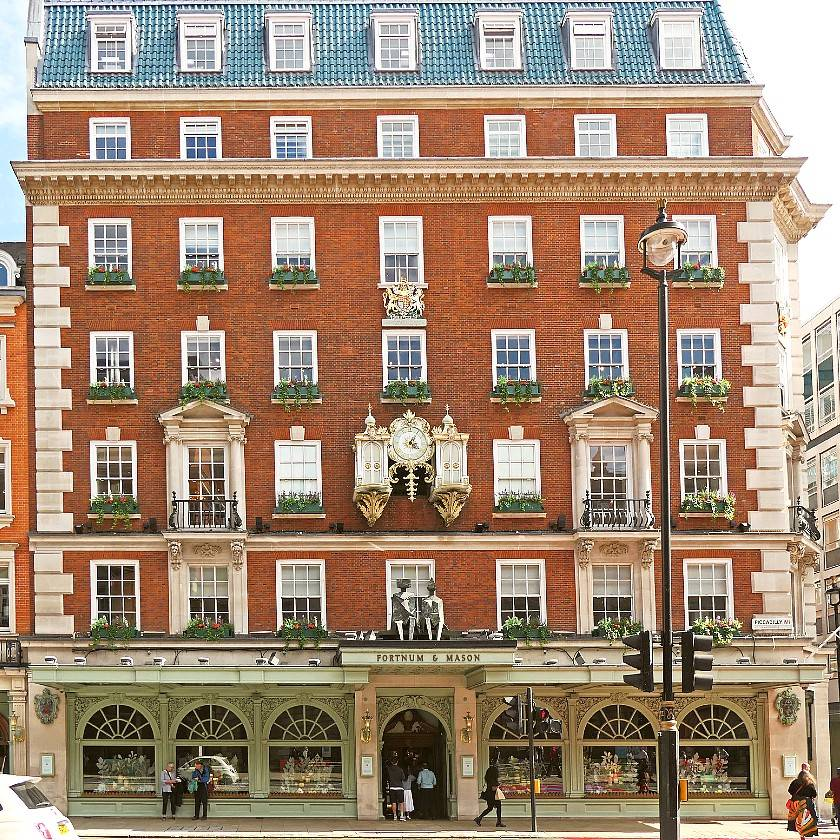 Outside the Fortnum and Mason's Georgian red brick building in London