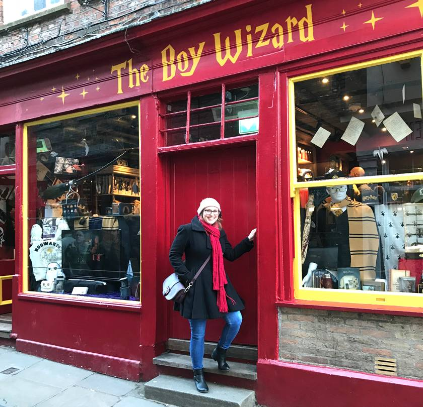 Mel stood outside 'The Boy Wizard' shop down The Shambles in York