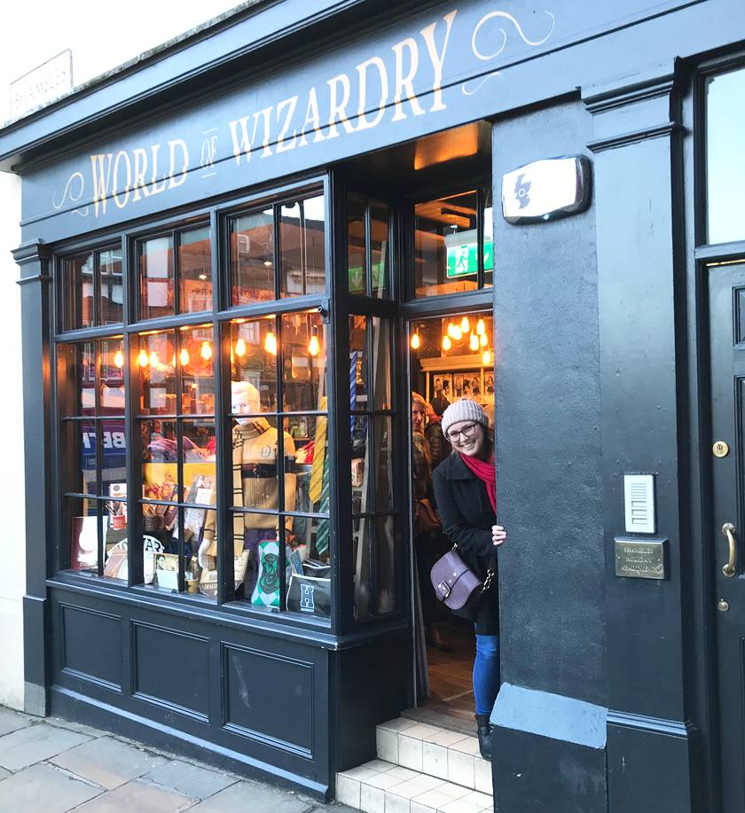 Mel peeking out from the 'World of wizardry' gift shop down The Shambles in York