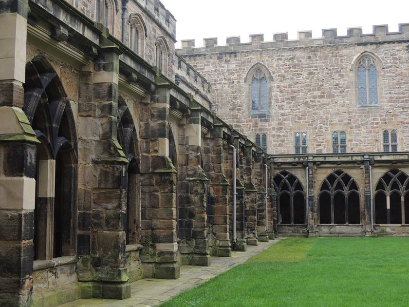 Durham Cathedral's beautiful medieval cloisters (archways) which featured in the Harry Potter film series