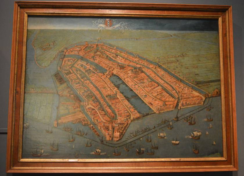 Historic painting of a map of Amsterdam Amsterdam Museum in Amsterdam